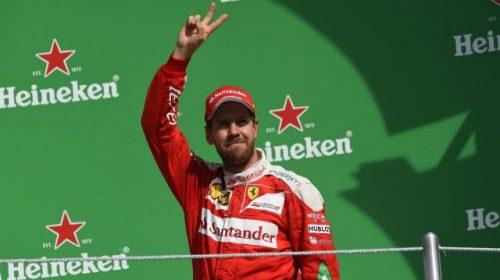 Sebastian Vettel celebraba su inesperado tercer lugar. (Fotos cortesía F1).