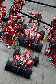 F1 GP China Ferraris en pits