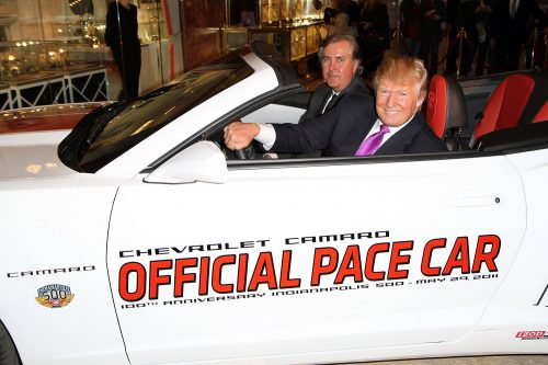 NEW YORK, NY - APRIL 05: Donald Trump and Jeff Belskus, the President and CEO, Indianapolis Motor Speedway Corporation, sit in the official pace car at the 100th anniversary Indianapolis 500 Chevrolet pace car celebrity driver announcement at Trump Tower on April 5, 2011 in New York City. (Photo by Taylor Hill/FilmMagic)